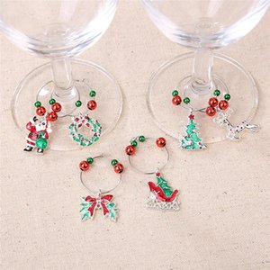 Natale Tazza Vino Recognizer 6 pc / etichetta di vino di vetro Xmas Ornament Occhiali Marker di Santa Xmas Tree bottiglia di vetro decorazioni DHE1085