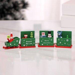 Natal decorações de Natal do trem de madeira crianças do jardim de infância de Natal decoração de janelas Red presente do dia cor verde navio rápido branco
