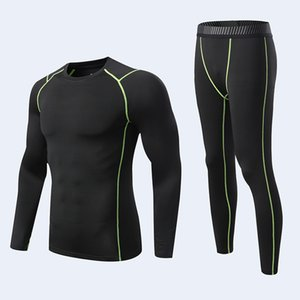 Adult Kid Mens Sport Running Set Compression T-Shirt + Pants Skin-Tight Long Sleeves Fitness MMA Training Clothes Gym Suits