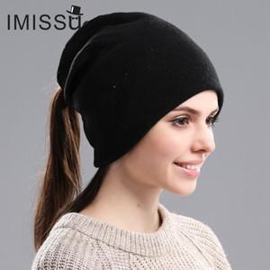 IMISSU High-End-Frauen Wolle gestrickt Skullies AutumnWinter Hut-beiläufige Kappe Ski Gorros Bonnet Netter Femme Hüte für Frauen