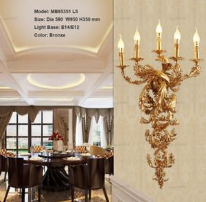 Vintage vela ligera de la pared de lujo Lámpara de pared para el Hotel Villa dormitorio Bracket iluminación de la pared Apliques Luces