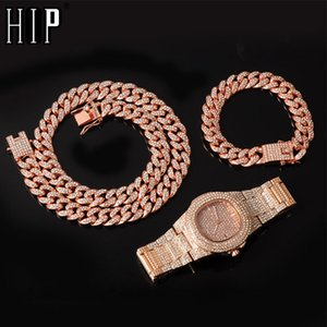 13MM 3pcs Rose Gold Necklace +Watch+Bracelet Hip Hop Miami Curb Cuban Chain Iced Out Paved Rhinestones CZ Bling For Men Jewelry