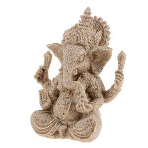 der Farbton Sandstein hindu ganesha Buddha Elefantengott Statue Skulptur Fengshui Figuren Dekor Ornament 4-5inch