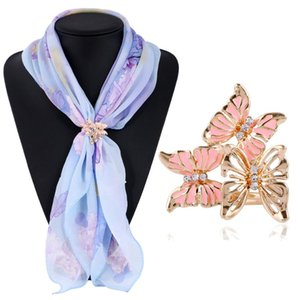 3 Colors Fashion Gold Color Rhinestone Butterfly Scarf Buckle Brooch Women Silk Scarf Jewelry Shawl Scarves Buckle Clips