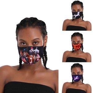 toz geçirmez ve ayarlanabilir yıkanabilir siyah bez maske rüzgar geçirmez DHL ücretsiz gönderim Halloween moda 3D dijital baskı maske sonbahar ve kış