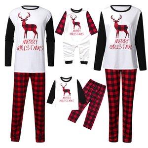Noel Aile Pijama Sonbahar Elk Baskı Kadın Erkek Ebeveyn-çocuk pijamalar Sıcak Uzun Kollu Pijama Suits Ev GWE1570 ayarlar