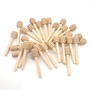 8cm long Mini Wooden Honey Stick Honey Dippers Party Supply Spoon Honey Kitchen Jar Stick