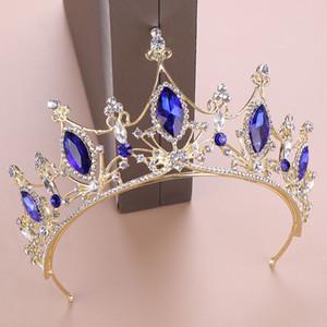 Hot Sale Royal Queen Barock Blue Crystal Tiaras Kronprinzessin Diadem Brautbraut-Hochzeit Haarschmuck Ornaments