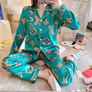 FZSLCYIYI flor impresa para mujer ropa de dormir pijamas par Pijamas mujer mujeres pijama de raso Home Use seda Conjunto de pijama Inicio Traje Gran Tamaño 3X # 950