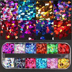 12 Grids pc Nail Sequins Nail Art Colorful Flakes Holographics Sequins Decoration DIY Design Sticker