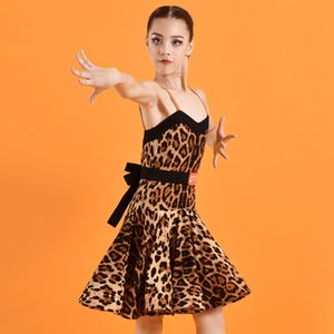 Kids Stage Competition Costume Leopard Latin Ballroom Clothes Girls Designer Dresses African Dress American Clothing JL1313