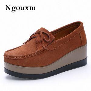 Ngouxm Donne Moccasin Flats Primavera Autunno Suede Shoes cuoio genuino femminile signora Mocassini Tassel Slip On Platform Donna Mocassino Moia #