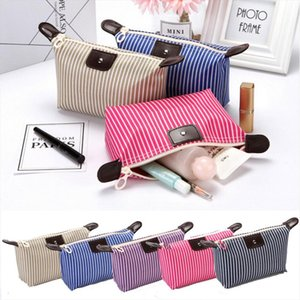 Cute Makeup Wash Storage Pencil Travel Pouch Cosmetic Bag Case Organizer Handbag Striped Cosmetic Storage Bag