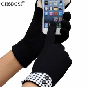 CHSDCSI pantalla tocado manoplas de alta calidad de la muñeca del guante invierno de las mujeres del paño de felpa suave Comfortble guantes negros de algodón Feeling