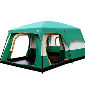 Wholesale- Ultralarge Outdoor 6 10 12 People Camping 4Season Tent Outing Two Bedroom Tent Big High Quality Party Family Camping Tent