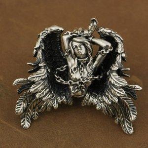 LINSION High Detail 925 Sterling Silver Andromeda Pendant Sexy Angel Biker Pendant TA82 JP