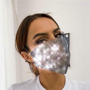 Yeni Tasarımcı Maskeleri Chic Bling Rhinestone Yüz Maskeleri Kadınlar Için Kadın Örgü Parlayan Elmas Gökkuşağı Renk Earloop Takı Maskesi GWE1850