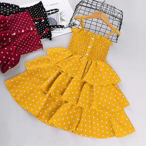 Ombro Summer Girls Bolinhas Suspender vestido Crianças Ruffle Elastic Dew Princess Dress Crianças Tiere Falbala Vestido