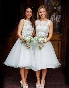 Boho Garden Short Wedding Guest Bridesmaid Dresses 2021 Lace Tea Length A Line Maid Of Honor Gowns Plus Size Formal Party Dress AL7066