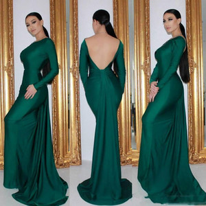 Sexy Backless Emerald Mermaid Evening Dresses Long Sleeves Cheap Simple Satin Formal Event Wear Prom Party Gowns Sweep Train Custom Made