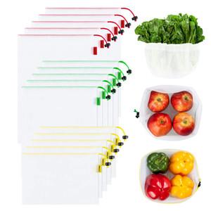 식료품 쇼핑 저장 과일 야채 그물 가방 200919 15 개 팩 재사용 가능한 메쉬 제작 가방 세척 친환경 경량 가방