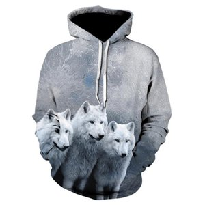 Three only Wolf 3DPrinting Hoodies Sweatshirts Men Women Hoodie with Hat Casual Tracksuits Men Hoodies Sweatshirts Tops