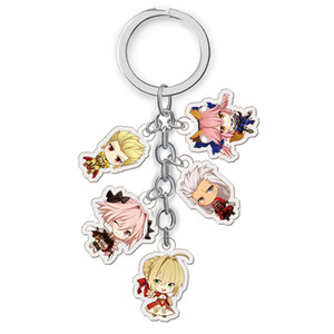Fate stay Night Keychains Gilgamesh Archer Lancer Saber Tamamo No Mae Action Figure Anime Model Acrylic Key Chain Pendant Gifts