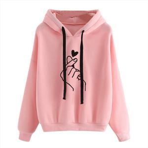 Finger Harajuku para mujer de la camiseta de las señoras de las sudaderas con capucha de gran tamaño de Corea del diseño del corazón del rosa del amor sudaderas ocasionales para las mujeres de las muchachas W