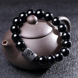 Yeni Kristal Siyah Obsidyen Boncuk Ejderha Phoenix Strand Bilezik Erkekler Kadınlar Için Çiftler Severler Buda Şanslı Muska Takı