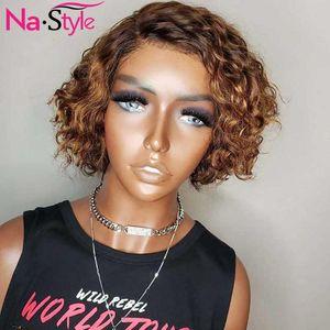 Pixie Cut pelucas peluca de pelo humano corto y rizado Pre desplumados Bob Cabello humano para las mujeres de color 13x4 del frente del cordón pelucas 150% Remy