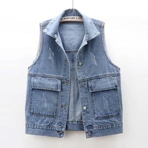 plus size Denim vest women A small tank top Sleeveless jacket Big bag loose 2020 new fashion lapel students blue black