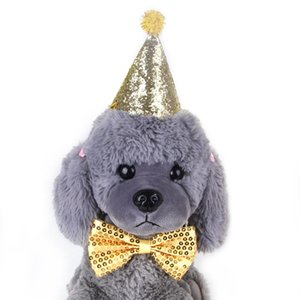 애완 동물 개 모자 생일 의상 개 생일 모자 Bowknot 타이 반짝 머리띠 크리스마스 파티 장식 애완 동물 액세서리