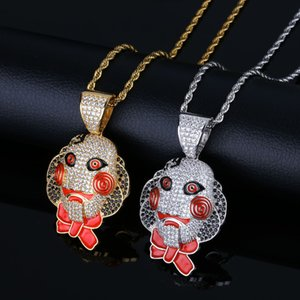 Shadow Saw Mask Doll Pendant Halloween Full of Zircon Personality Men's Hip-hop Necklace