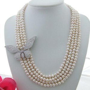 Handmade 4strands 6-7mm white freshwater pearl micro inlay zircon butterfly flower accessories sweater necklace long 50-58cm