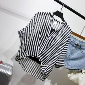 السيدات اثنين من قطعة مجموعة ليوبارد الشيفون قميص نصف كم الصيف فضفاض الخامس عنق المرأة عارضة بلوزة مثير زائد حجم مخطط القمم 200924