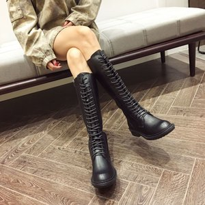 Ann's Same Martin Boots for Women 2019 New British-style Motorcycle Black High-sleeved Knight Handsome High Boots INS retro high