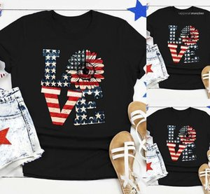 Sleeve Women Tops Crew Neck Summer Tees National Independent Day Tshirts Sunflower Love Letter Printed Short