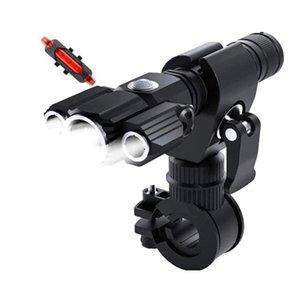 Waterproof Bicycle Light LED Aluminum Alloy Multifunction 3 Lamp Head + Taillight, Outdoor Lighting Night Ride Light