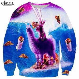 Alpaca and Cat 3D Print Sweatshirt Classic Starry Animal T Shirt Men Women Casual Hoodie Harajuku Streetwear Tops B132