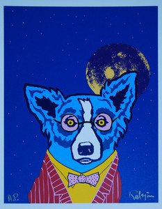 George Rodrigue Blue Dog Regarder la vie à travers des lunettes de couleur rose Accueil Décoration Peinture à l'huile sur toile mur arts en toile Picture 200914