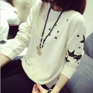 Thin Style Women Hoodies Sweatshirts Fashion Star Print Long Sleeve Round Neck Hoody Pullovers Casual Loose Sudaderas Mujer