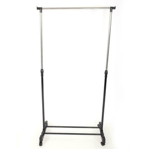 New Portable Single Adjustable Durable Home Clothes Hanger Rolling Garment Rack