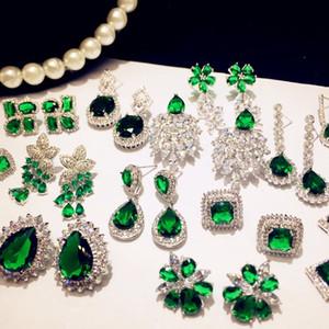 925 Sterling Silver Drop Earrings For Women Emerald Vintage Fine Jewelry Cubic Zirconia Green Stone Luxury Eardrop Brincos 200921