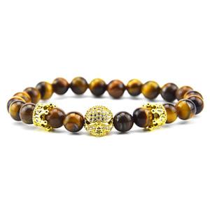 Stone Beads Bracelet Men Accessories Crown Braclets Handmade Erkek Bileklik Skull Jewelry Mens Bracelets For Women