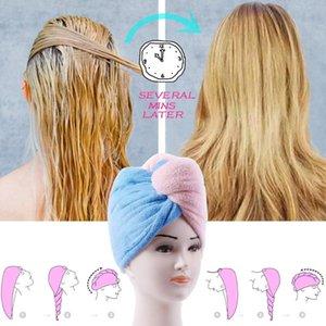 Mais novo banho Microfibre Chuveiro de Cabelo Envoltório Das Mulheres Toalha De Cabelo Toalha Quick Dry Wrap Meninas Cap Head Turban Tools Senhora After NRBWP
