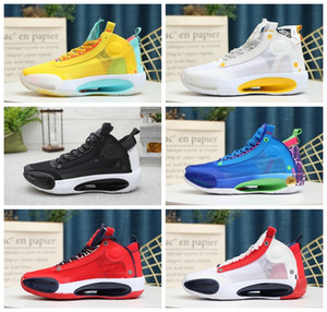 2020 Shoes New Jumpman XXXIV 34 Eclipse Azul Vazio Verde Branco Preto Mens Red Basquetebol High Top 34s qualidade dos homens das sapatilhas esportivas Tamanho 7-12