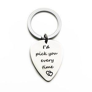 Oeinin Charms Key Chain Man I'd Pick You Every Time Keychain Bags Lovers Letter Color Keyring Guitar Pick Arrtracive Llaveros