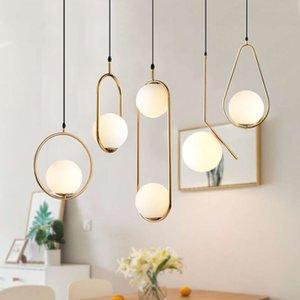 Modern LED Round Glass Ball Pendant Lights Iron E14 Pendant Lamps Hanging Light Fixture for Living Bedroom Dining Room