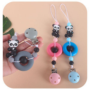 2020 Fda DIY Baby Soothing Teether Ring Panda Silicone Bead Nipple Chain Anti-drop Chains Pacifier Clips Holder Wholesale Bpa Free