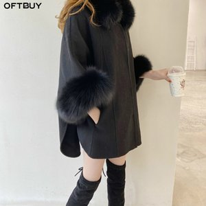OFTBUY 2020 Real Fur Coat Winter Jacket Women Natural Fox Fur Collar Cuffs Flare Sleeve Cashmere Wool Woolen Loose Outerwear T200916